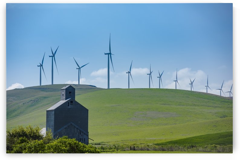 Wind turbines of the Lower Snake River Wind Project in contrast to an old barn near in Garfield County, Eastern Washington; Washington, United States of America by PacificStock
