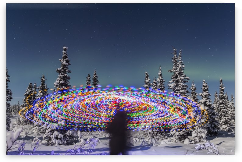 The Aurora Borealis dances over the top of a vibrant spiral light painting, the blurry figure of a man in the middle of the light painting, moonlight casting shadows on snow covered spruce trees on a clear winter night, interior Alaska; Gakona, Alaska, Un by PacificStock