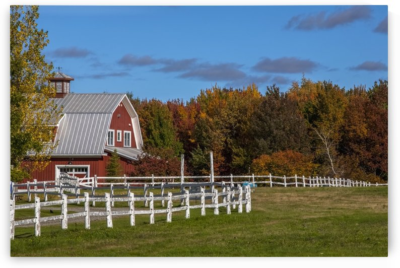 Red barn with trees in autumn colours; Sutton, Quebec, Canada by PacificStock