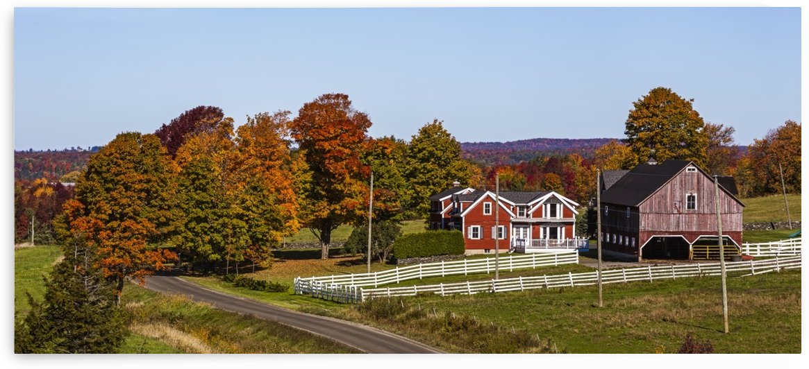 Red barn and country road with trees in autumn colours; West Bolton, Quebec, Canada by PacificStock