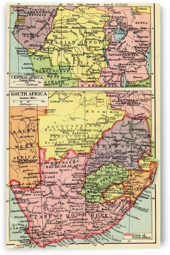 A 1930's map of central Africa, top and south Africa, bottom. by PacificStock