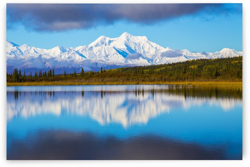 Mt. Hayes reflects in Donnelly Lake in autumn, south of Delta Junction; Alaska, United States of America by PacificStock