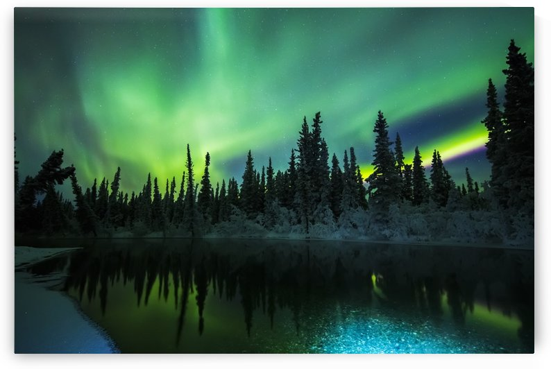 The aurora reflects in the Clearwater River in Delta Junction; Alaska, United States of America by PacificStock
