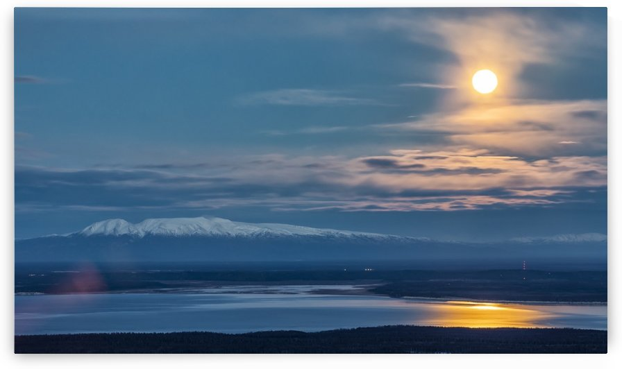 Setting supermoon overlooks Mt. Susitna (Sleeping Lady) and the Knik Arm, South-central Alaska; Alaska, United States of America by PacificStock