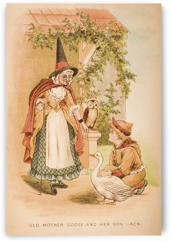 Old mother goose and her son Jack from Old Mother Goose's Rhymes and Tales  Illustration by Constance Haslewood  Published by Frederick Warne & Co London and New York circa 1890s  Chromolithography by Emrik & Binger of Holland by PacificStock