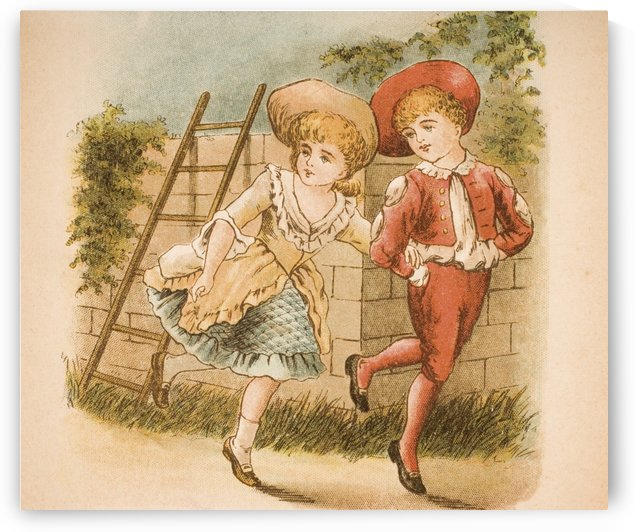 Illustration of girl and boy from Old Mother Goose's Rhymes and Tales by Constance Haslewood  Published by Frederick Warne & Co London and New York circa 1890s  Chromolithography by Emrik & Binger of Holland by PacificStock