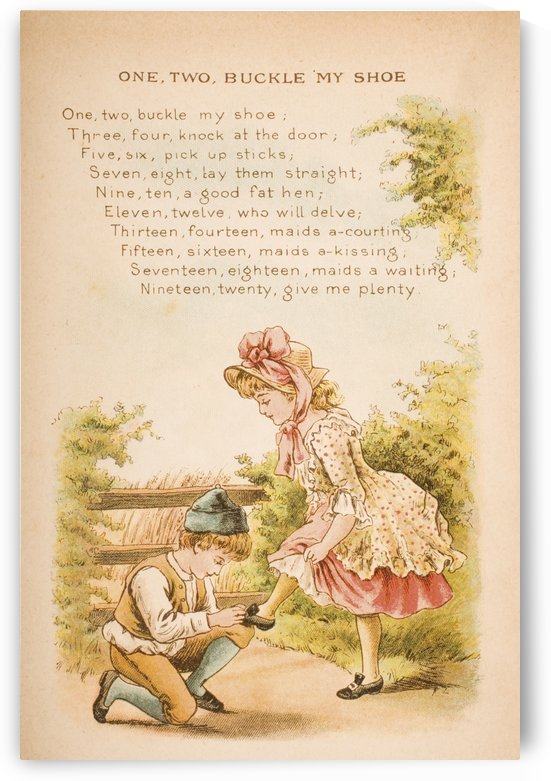 One Two Buckle My Shoe from Old Mother Goose's Rhymes and Tales  Illustration by Constance Haslewood. Published by Frederick Warne & Co London and New York circa 1890s. Chromolithography by Emrik & Binger of Holland by PacificStock