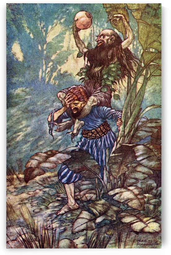 The Fifth Voyage of Sinbad the Sailor. Illustration by Charles Folkard from the book The Arabian Nights published 1917 by PacificStock