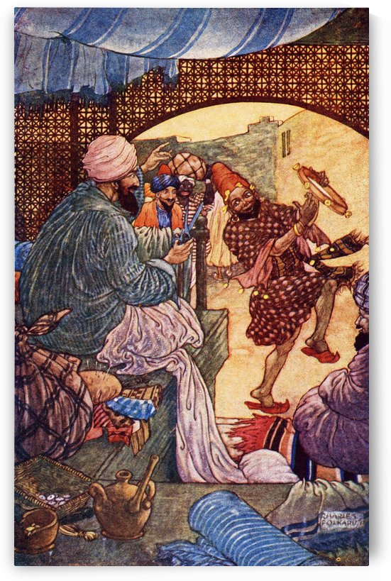 The Story of the Little Hunchback. Illustration by Charles Folkard from the book The Arabian Nights published 1917 by PacificStock