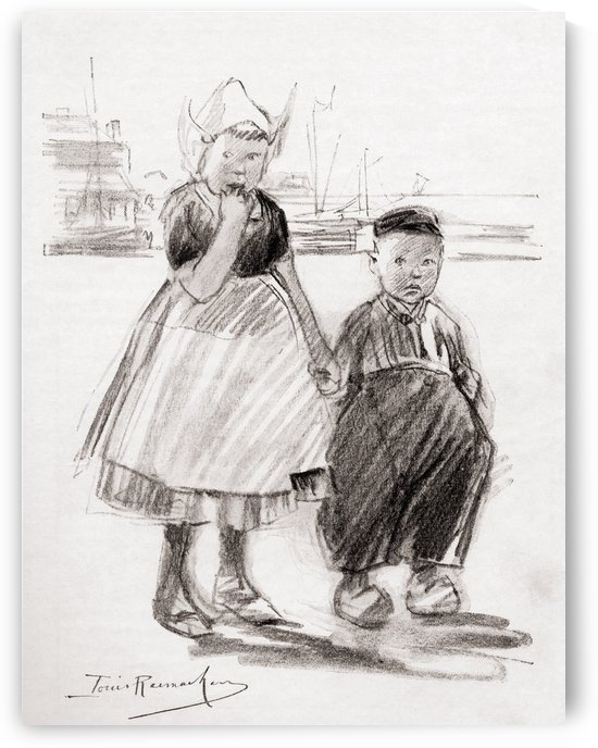 A Study of Dutch Children. From the chalk drawing by Louis Raemaekers from the book Princess Marie-José's Children's Book published 1916. by PacificStock