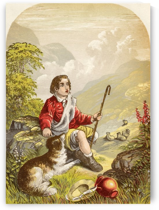 The Shepherd Boy in the Valley of Humiliation. Illustration by A.F.Lydon. From the book The Pilgrims Progress by John Bunyan published c.1880. by PacificStock