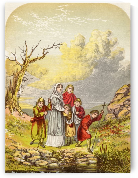 Christiana and her children arrive at the Slough of Despond. Illustration by A.F.Lydon. From the book The Pilgrims Progress by John Bunyan published c.1880. by PacificStock