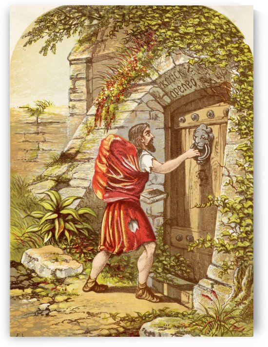 Christian at the Gate. Illustration by A.F.Lydon. From the book The Pilgrims Progress by John Bunyan published c.1880. by PacificStock