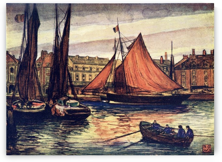 Dieppe, France. Colour illustration from the book France by Gordon Home published 1918 by PacificStock