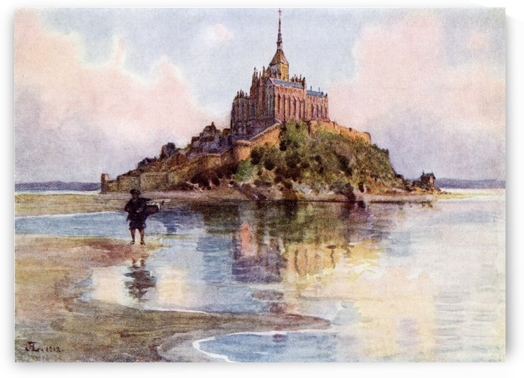 Mont Saint Michel at High Tide, Normandy, France. Colour illustration from the book France by Gordon Home published 1918 by PacificStock