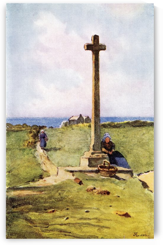 A Breton Calvaire. Colour illustration from the book France by Gordon Home published 1918 by PacificStock