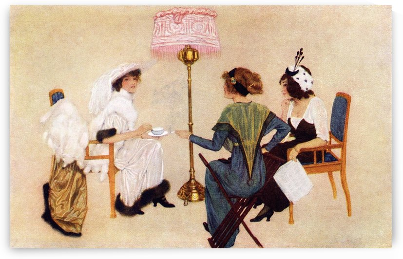 Five 'o' clock Tea in Paris. Colour illustration from the book France by Gordon Home published 1918 by PacificStock