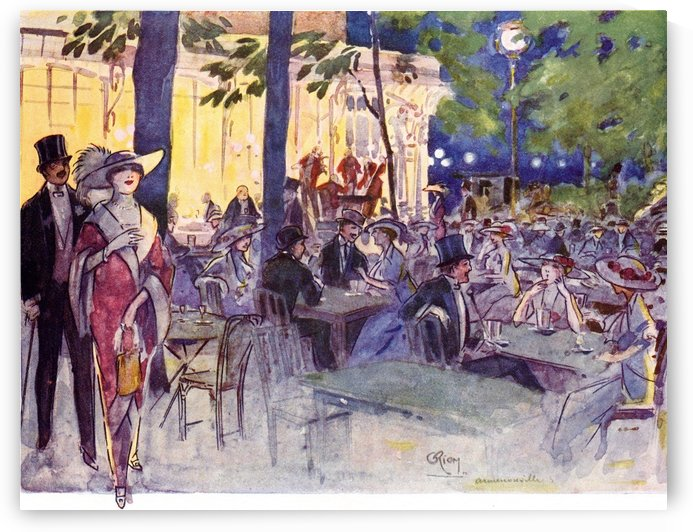 In The Cafe Armenonville, Bois de Boulogne, Paris, France. Colour illustration from the book France by Gordon Home published 1918 by PacificStock