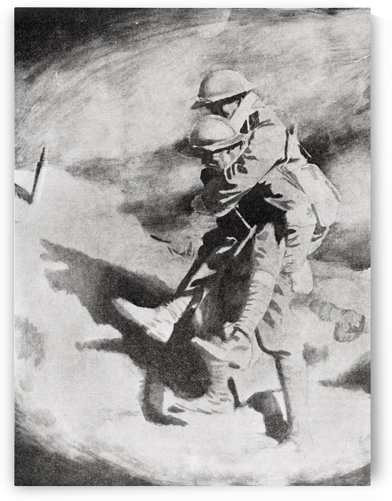 Poilu and Tommy after the painttng by Sir William Orpen. From the magazine Twenty Years After The Battlefields of 1914-1918 Then and Now by Sir Ernest Swinton published 1938. by PacificStock