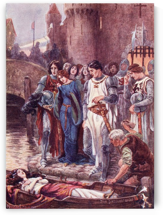 Lancelot looks at the dead Lady of Shalott on her arrival at Camelot.  Coloured illustration from the book The Gateway to Tennyson published 1910. by PacificStock