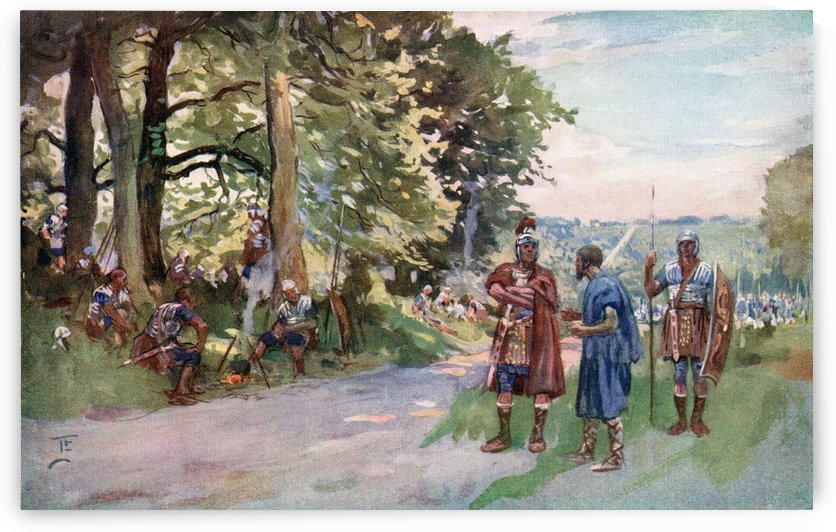 A wayside halt during a Roman Legion's march on the long straight Roman road near Old Sarum, England.  From The Illustrated London News, Christmas Number, 1933. by PacificStock