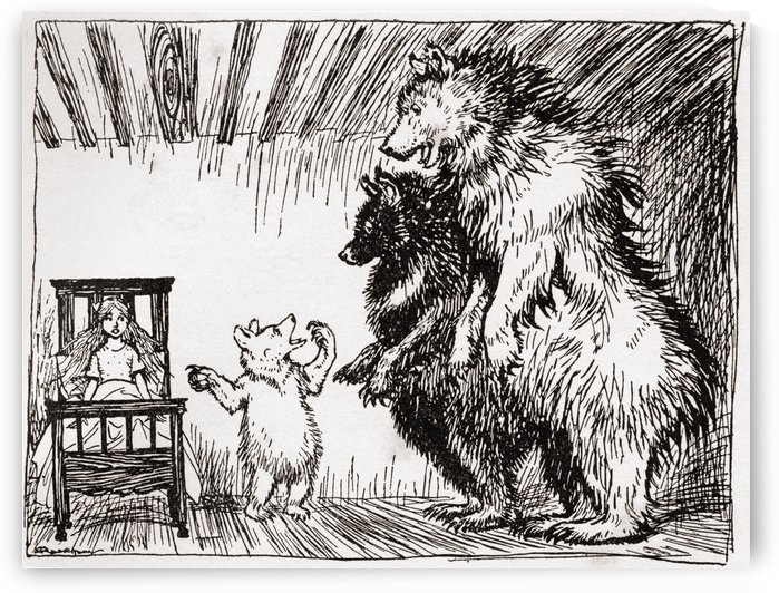 Somebody has been lying in my bed, and here she is.  Illustration to Goldilocks and the three bears.  From the book English Fairy Tales retold by F.A. Steel with illustrations by Arthur Rackham, published 1927. by PacificStock