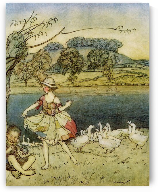 Tattercoats dancing while the gooseherd pipes. From the book English Fairy Tales retold by F.A. Steel with illustrations by Arthur Rackham, published 1927. by PacificStock