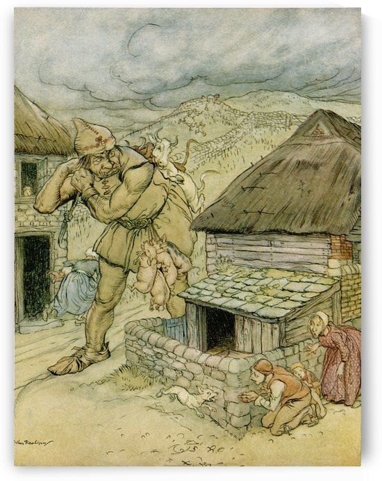The Giant Cormoran was the terror of all the countryside. Illustration to Jack the Giant Killer from the book English Fairy Tales retold by F.A. Steel with illustrations by Arthur Rackham, published 1927. by PacificStock