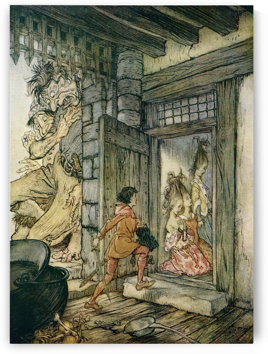 Taking the keys of the castle Jack unlocked all the doors.  Illustration to Jack the Giant Killer from the book English Fairy Tales retold by F.A. Steel with illustrations by Arthur Rackham, published 1927. by PacificStock