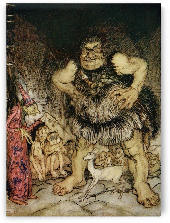 The giant Galligantua and the wicked old magician transform the duke's daughter into a white hind. Illustration to Jack the Giant Killer from the book English Fairy Tales retold by F.A. Steel with illustrations by Arthur Rackham, published 1927. by PacificStock