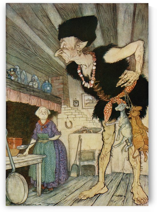Fee fi fo fum I smell the blood of an Englisman.  Illustration from Jack and the Beanstalk from the book English Fairy Tales retold by F.A. Steel with illustrations by Arthur Rackham, published 1927. by PacificStock