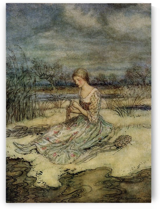 She sat down and plaited herself an overall of rushes and cap to match.  From the book English Fairy Tales retold by F.A. Steel with illustrations by Arthur Rackham, published 1927. by PacificStock