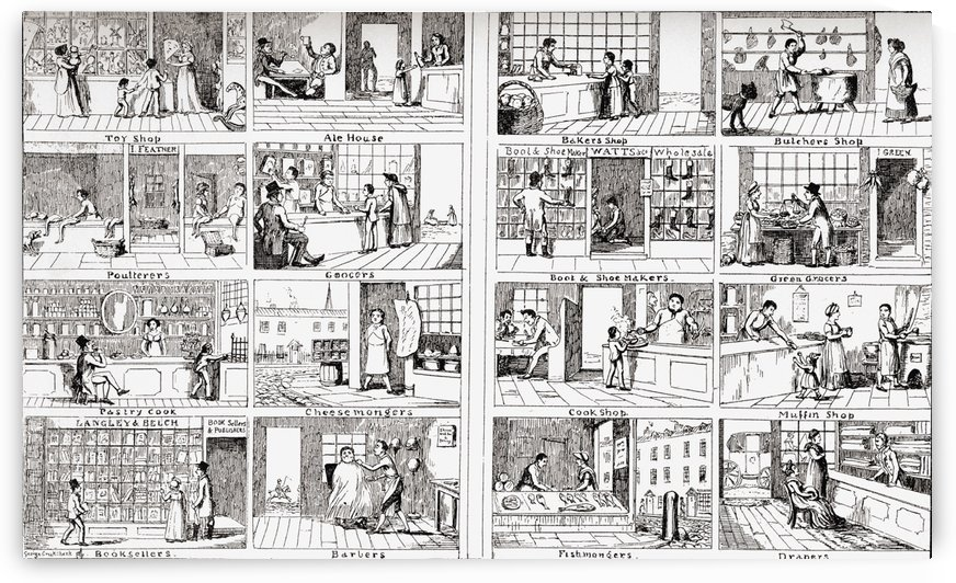 Children's Lottery Picture. The original of this plate drawn by George Cruikshank in 1804 at the age of 12, one of the first etchings that he was paid for. The boy in the lefthand corner is Cruikshank himself taking the plate to the booksellers.  From the by PacificStock