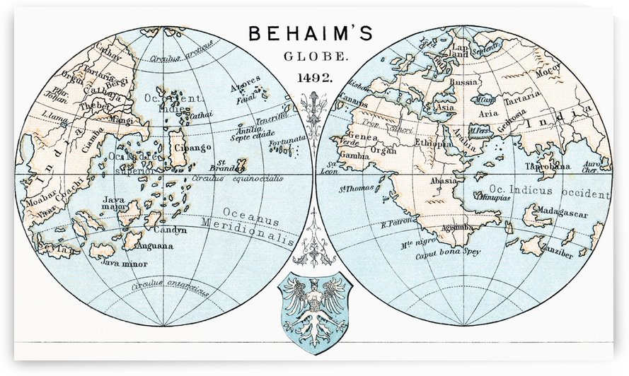 Martin Behaim´s Globe, 1492.  From the book Life of Christopher Columbus by Clements R. Markham published 1892. by PacificStock