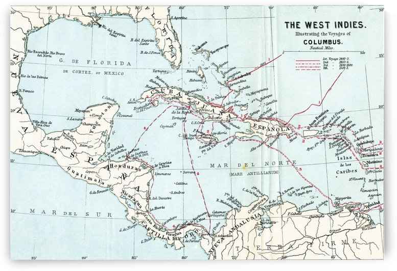 Map of the West Indies illustrating the voyages of Christopher Columbus.  From the book Life of Christopher Columbus by Clements R. Markham published 1892. by PacificStock