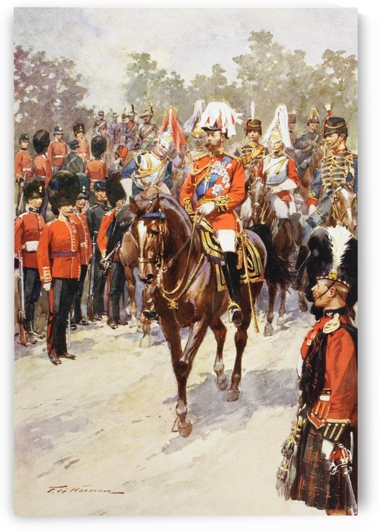 George V, as Field Marshal and British Regiments of which he was colonel.  George Frederick Ernest Albert, 1865 to 1936.  After the painting by Frederic de Haenen from The Illustrated London News, 1910. by PacificStock