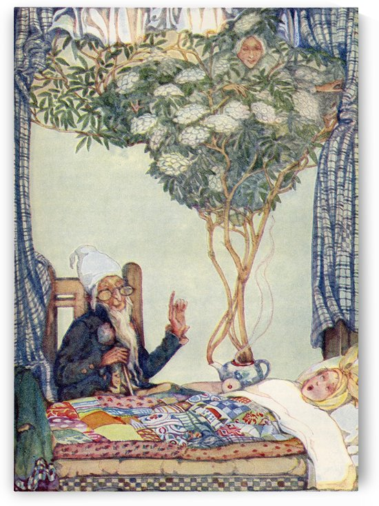 Mother Elder illustration from The Golden Wonder Book published 1934.  In the midst of the tree sat a kind looking old dame, wearing the strangest dress in the world. by PacificStock