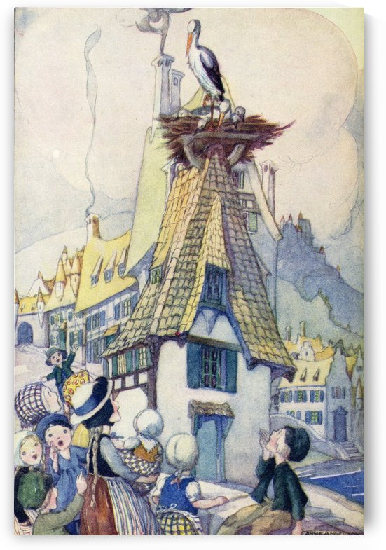 The Storks, illustration from The Golden Wonder Book published 1934.  In the street below a number of children were playing together. They began to shout and mock the Storks. by PacificStock