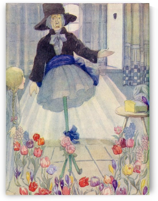Little Ida's Flowers, illustration from The Golden Wonder Book published 1934.  She hopped upon her three stilts in the middle of the flowers and stamped the floor merrily with her feet. by PacificStock