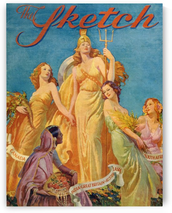 Front cover from The Sketch magazine, special coronation number, published 1937.  Depicting Britannia surrounded by the female personifications of Canada,India,Australia and South Africa. by PacificStock