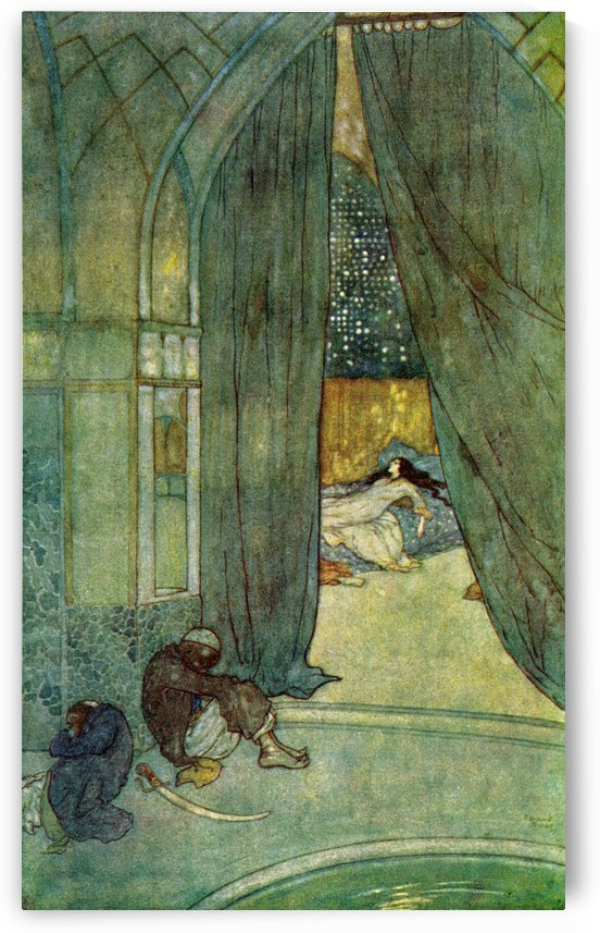 He saw black slaves lying asleep.  Illustration by Edmund Dulac for The Story of The Magic Horse.  From The Arabian Nights, published 1938. by PacificStock