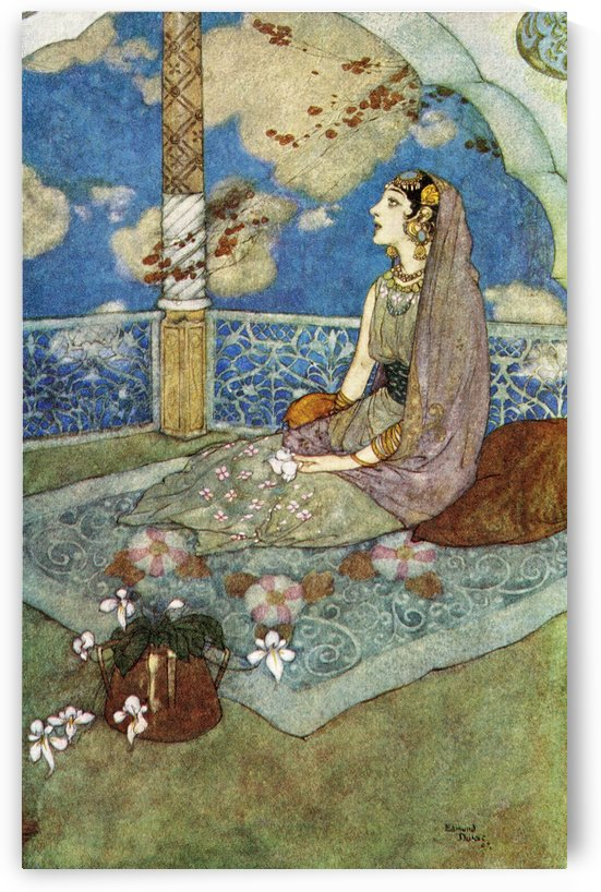 And ever with the tears falling down from her eyes she sighed and sang.  Illustration by Edmund Dulac for The Story of The Magic Horse. From The Arabian Nights, published 1938. by PacificStock
