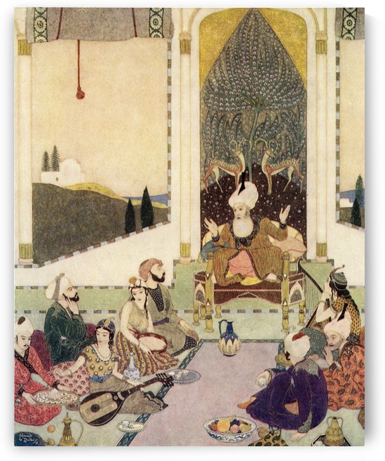 Sindbad the Sailor entertains Sindbad the Landsman. Illustration by Edmund Dulac for Sinbad The Sailor. From The Arabian Nights, published 1938. by PacificStock
