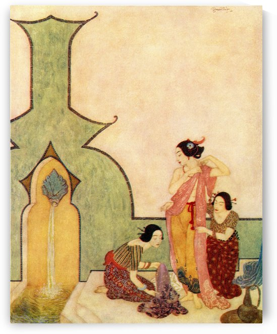 The Lady of Bedr-el-budur cometh to the bath. Illustration by Edmund Dulac for Aladdin and The Wonderful Lamp. From The Arabian Nights, published 1938. by PacificStock