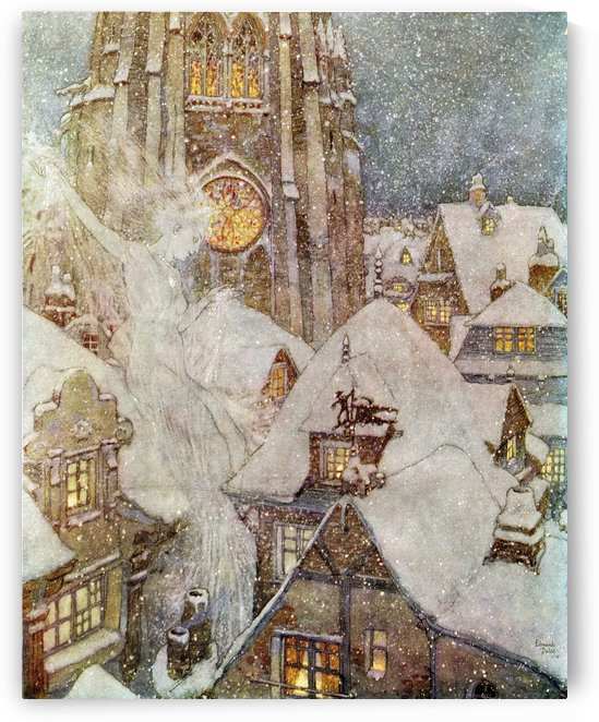 Many a winter's night she flies through the streets and peeps in at the windows, and then the ice freezes on the panes into wonderful patterns like flowers. Illustration by Edmund Dulac for The Snow Queen.  From Stories from Hans Andersen, published 1938. by PacificStock