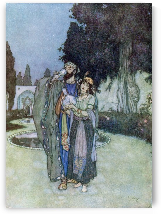Oh, plagued no more with Human or Divine, To-morrow's tangle to itself resign, And lose your fingers in the tresses of The Cypress-slender Minister of Wine. Illustration by Edmund Dulac from the Rubaiyat of Omar Khayyam, published 1909. by PacificStock