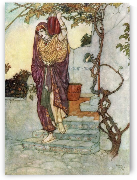 And lately, by the Tavern Door agape, Came shining through the Dusk an Angel Shape Bearing a Vessel on his Shoulder; and He bid me taste of it; and 'twas - the Grape!  Illustration by Edmund Dulac from the Rubaiyat of Omar Khayyam, published 1909. by PacificStock
