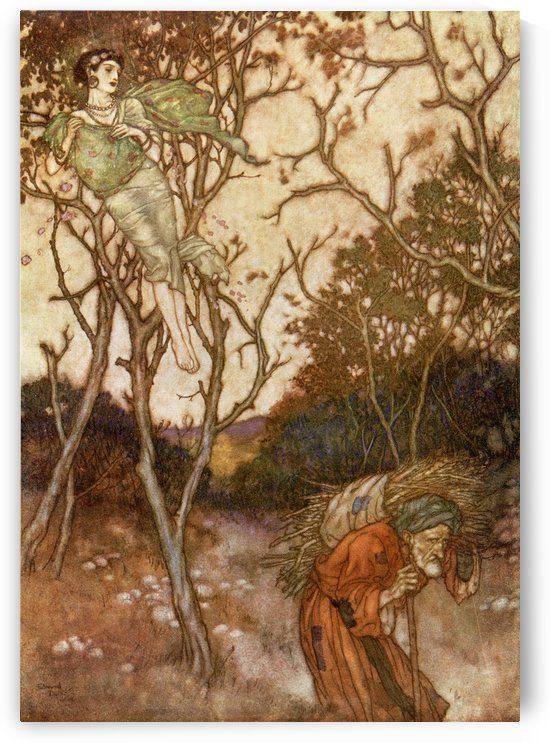Yet Ah, that Spring should vanish with the Rose! That Youth's sweet-scented manuscript should close! The Nightingale that in the branches and, Ah whence, and whither flown again, who knows?  Illustration by Edmund Dulac to From the Rubaiyat of Omar Khayya by PacificStock