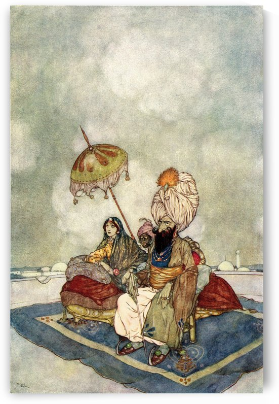 All this time the Princess had been watching the combat from the roof of the palace.  Illustration by Edmund Dulac for The Story of The Magic Horse. From The Arabian Nights, published 1938. by PacificStock