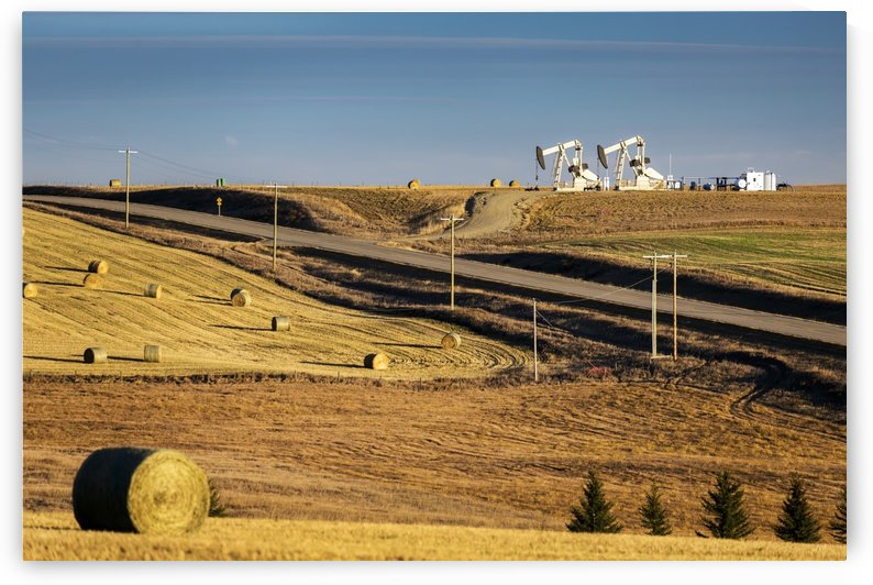 Two pump jacks on rolling hills in the distance along highway with cut fields and hay bales; Alberta, Canada by PacificStock